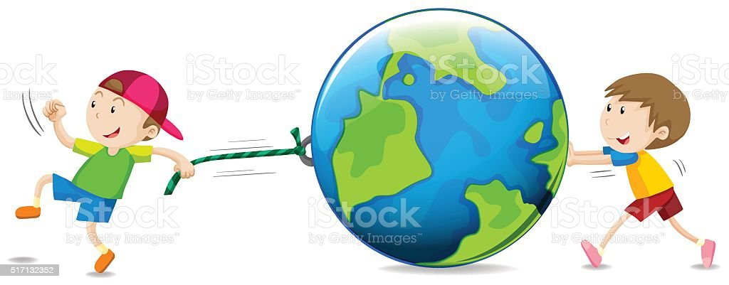 Boys pulling and pushing the globe vector art illustration