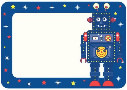 Boys Retro Robot Invite or Place Card