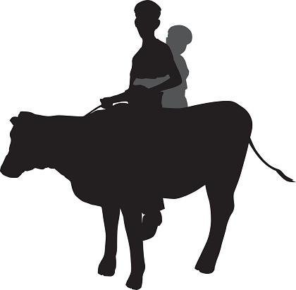 Boys Riding Cow Silhouette