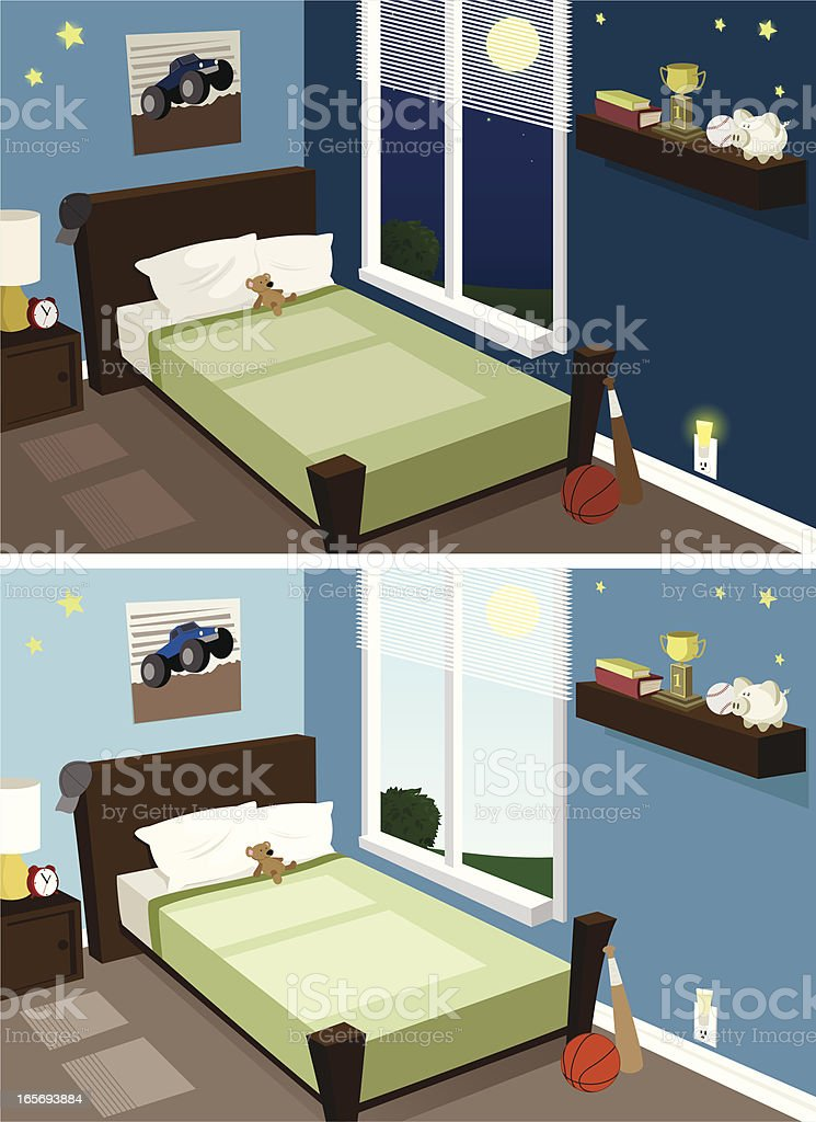 Boy's Room, Day & Night vector art illustration