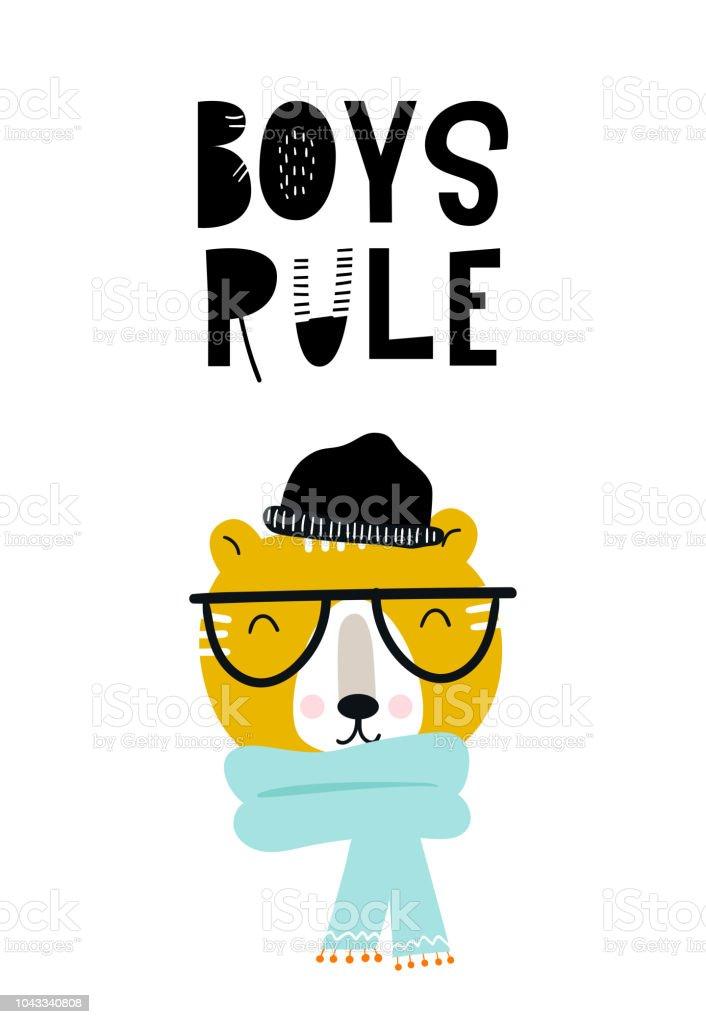 Jungen Regel Süße Hand Gezeichnete Kinderzimmer Poster Mit Tiger