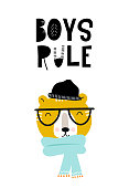 Boys rule - Cute hand drawn nursery poster with cartoon tiger character and lettering. Vector illustration in scandinavian style.