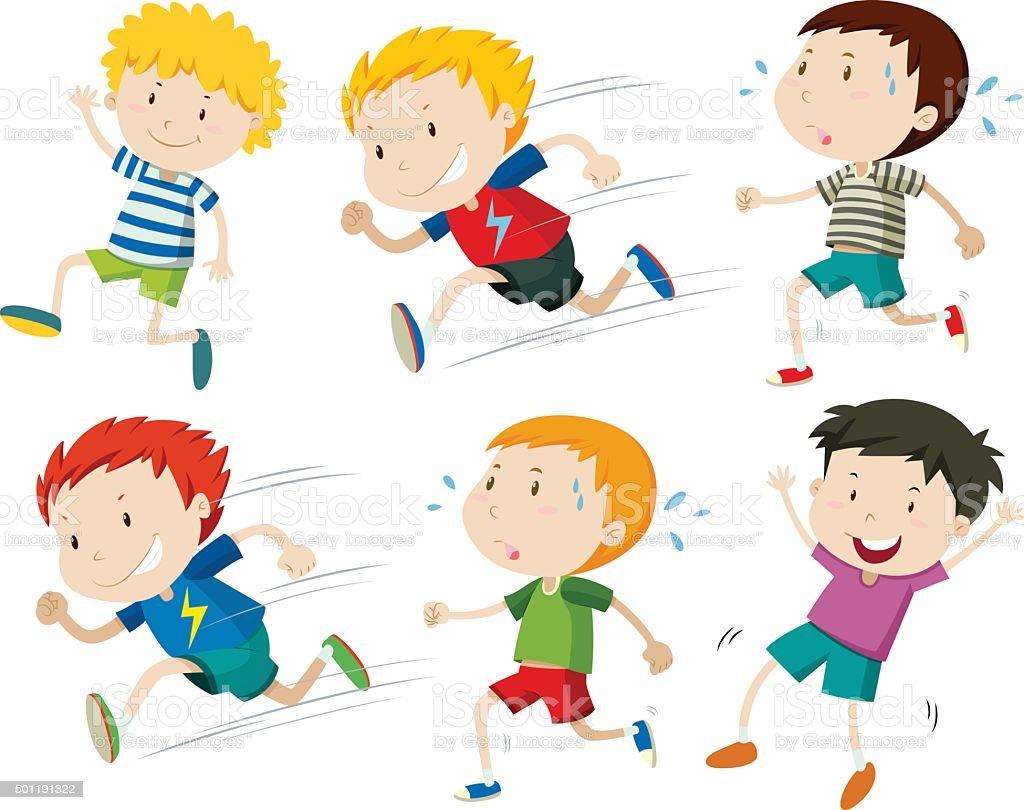Ilustración De Niños Corriendo Rápido Lento Y Más