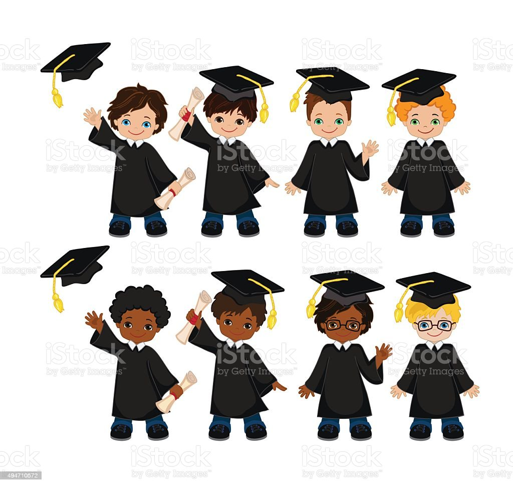 Boys Set Of Children In A Graduation Gown And Mortarboard Stock ...