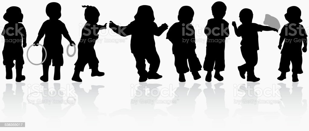 Boys silhouettes vector art illustration