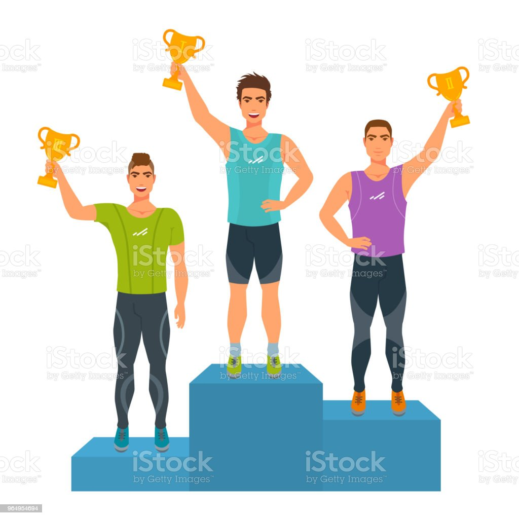 Boys stand on podium, awarded with trophies. vector art illustration
