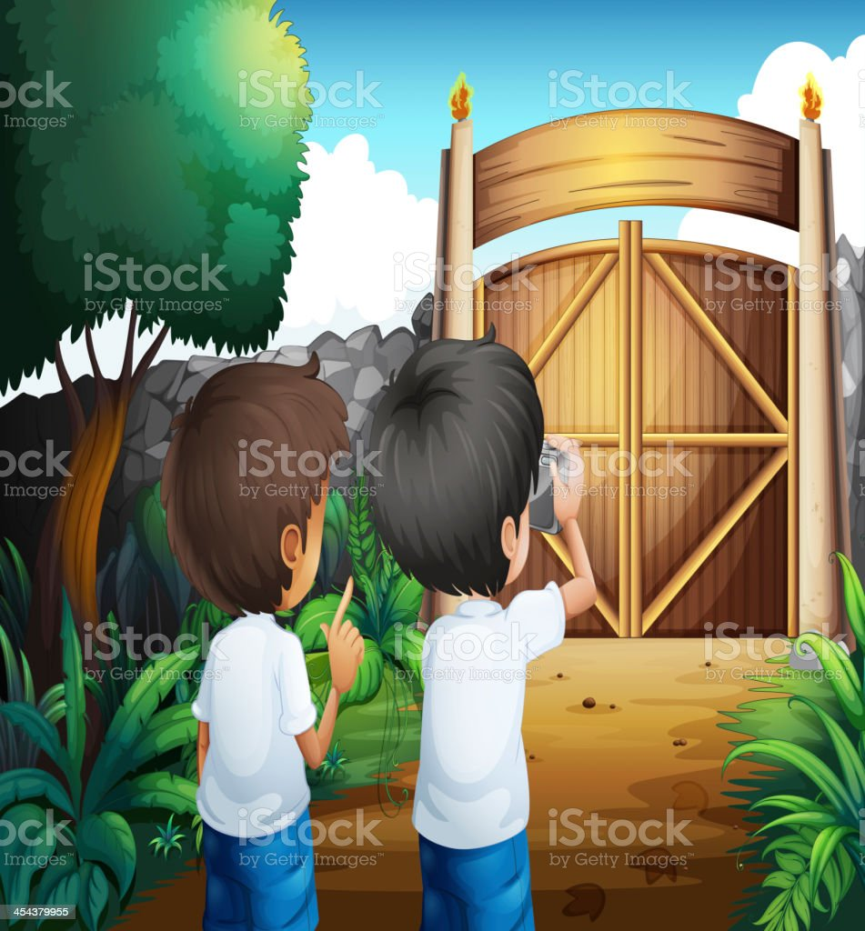 Boys taking pictures inside the gated yard royalty-free stock vector art