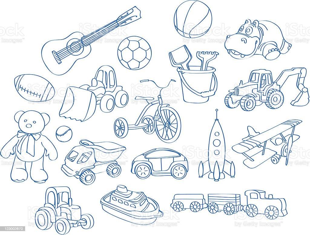 boy's toys vector art illustration