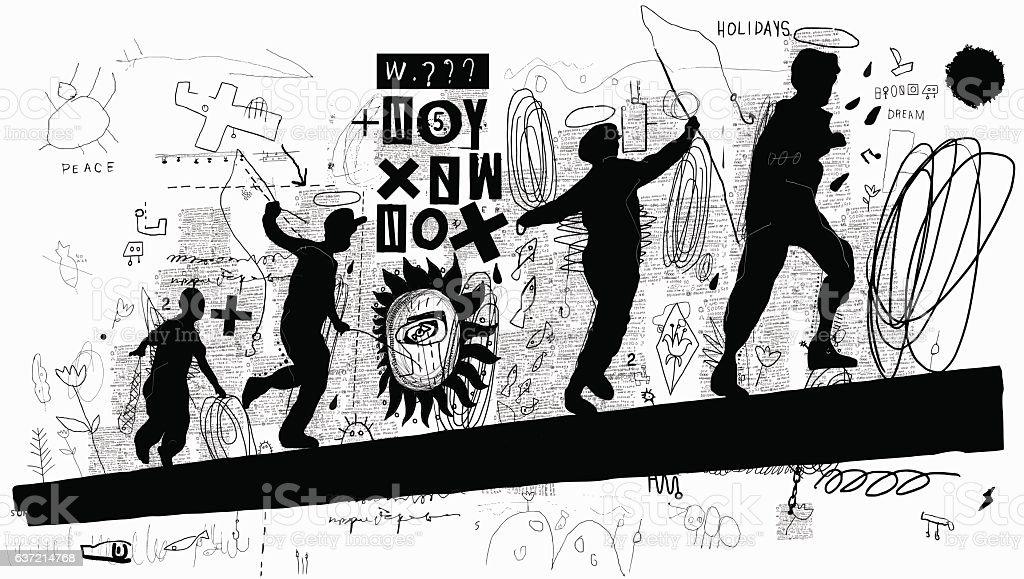 Boys vector art illustration