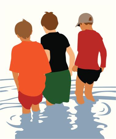Boys Wading