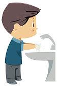 boys washing hands