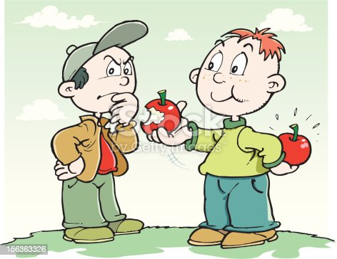 An a vector illustation of two boys with apples.