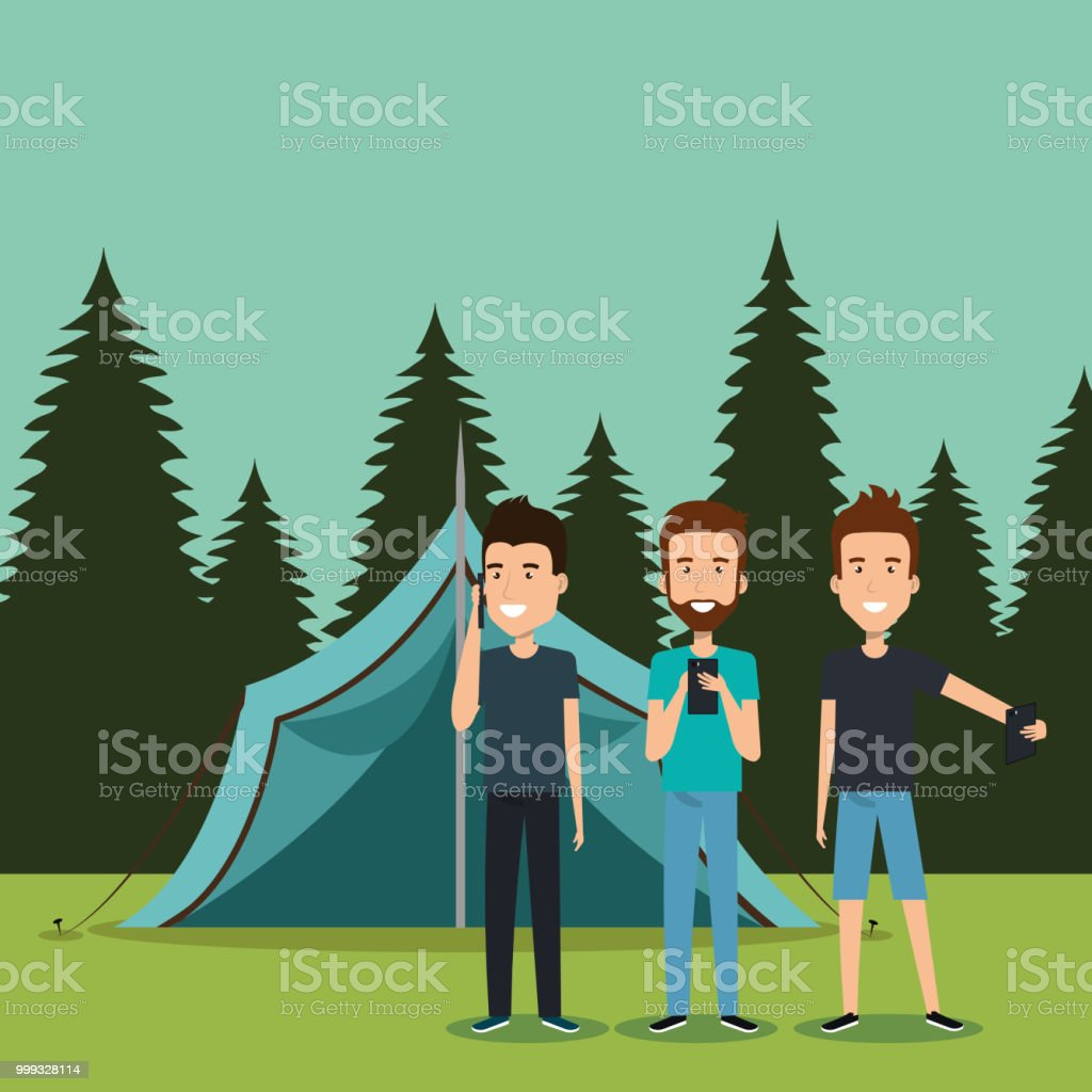 boys with smartphones in the camping zone vector illustration design