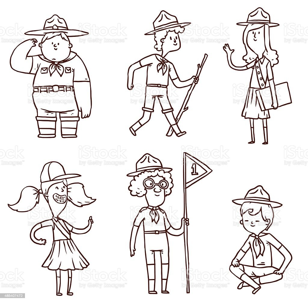 Boy-scouts and girl-scouts vector art illustration
