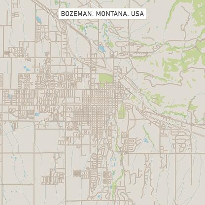 Bozeman Montana US City Street Map