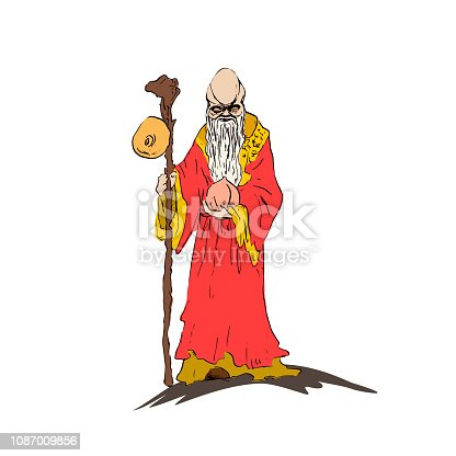 Chinese sage Star elder Shawsin holds a ginseng root staff and peach longevity. Bozhestovo Longevity Star elder Shousin. Vector illustration
