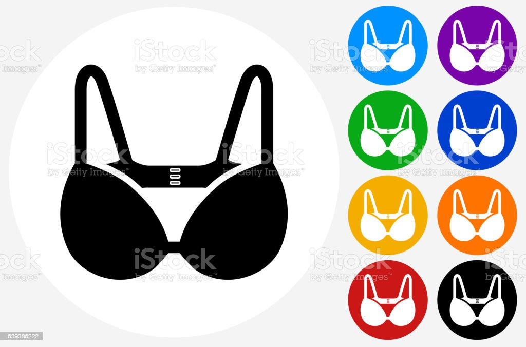 Bra Icon on Flat Color Circle Buttons vector art illustration