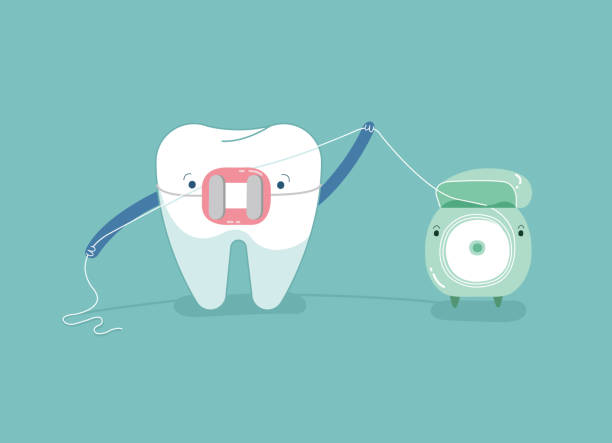 klammer zähne mit zahnseide für weiße zähne, zahnärztliche vektor-konzept. - manschetten stock-grafiken, -clipart, -cartoons und -symbole