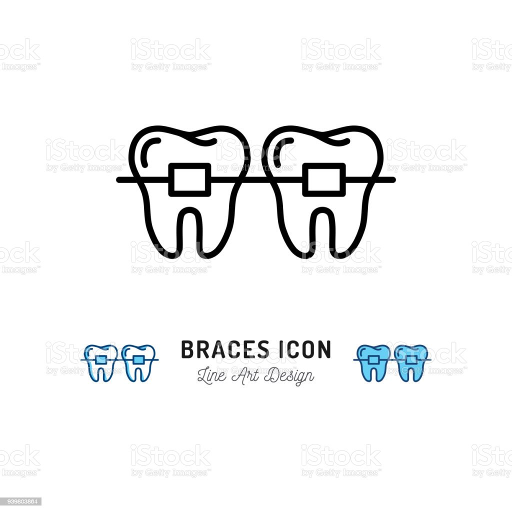 Braces icon, Stomatology Dental care. Teeth braces thin line art icons. Vector illustration vector art illustration