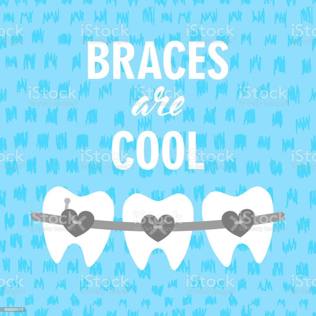 Braces on teeth are cool vector illustration. Dental Braces. Braces teeth of dental healthcare vector art illustration