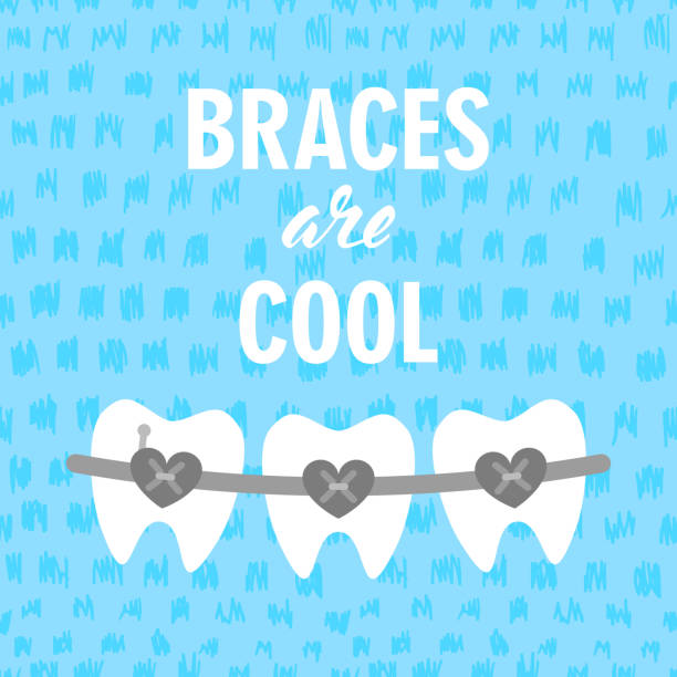 braces on teeth are cool vector illustration. dental braces. braces teeth of dental healthcare - orthodontist stock illustrations, clip art, cartoons, & icons