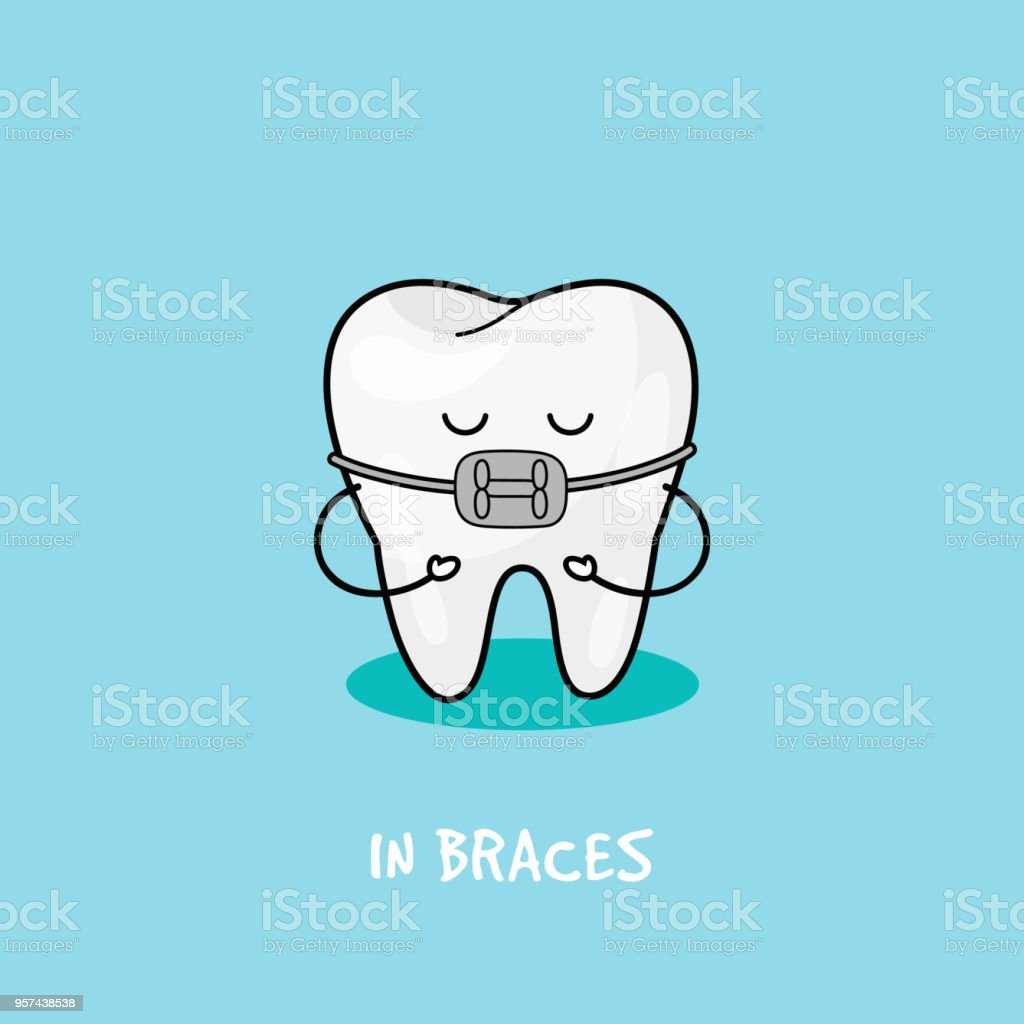 Braces tooth icon. Illustration for children dentistry. Oral hygiene, teeth cleaning vector art illustration
