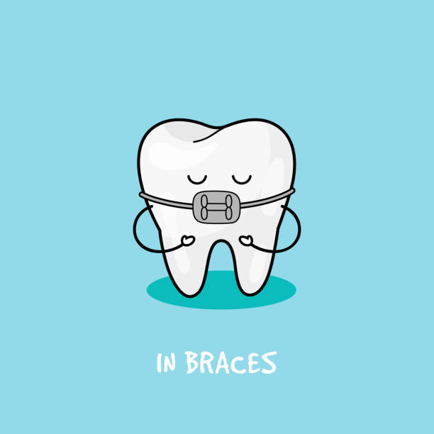 braces tooth icon. illustration for children dentistry. oral hygiene, teeth cleaning - orthodontist stock illustrations, clip art, cartoons, & icons