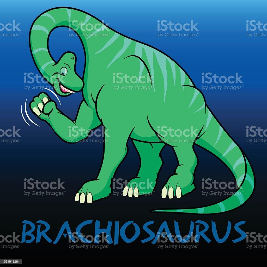 Brachiosaurus cute character dinosaurs vector art illustration