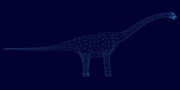 Brachiosaurus dinosaur wireframe. Side view. Polygonal dinosaur from blue lines on a dark background. 3D. Vector illustration.