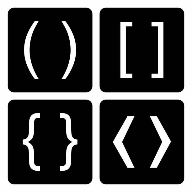 bracket set-sammlung - manschetten stock-grafiken, -clipart, -cartoons und -symbole