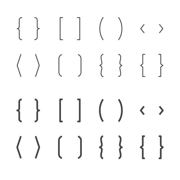 klammern flache linie symbole. klammer-vektor-illustrationen. dünne anzeichen für typografie-symbole. pixel perfect 64 x 64. editierbare striche - manschetten stock-grafiken, -clipart, -cartoons und -symbole