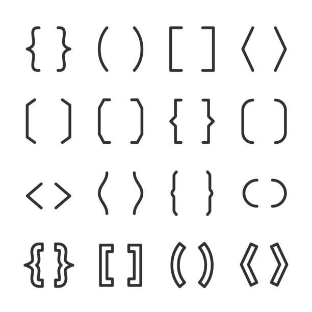 klammern setzen. typografie-symbole. linie mit editierbaren schlaganfall - manschetten stock-grafiken, -clipart, -cartoons und -symbole