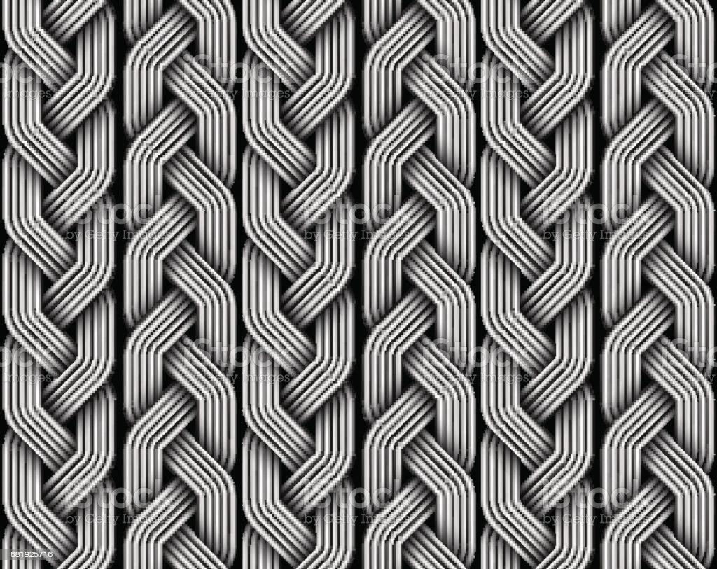 Braided pigtails fiber seamless pattern. Vector illustration vector art illustration