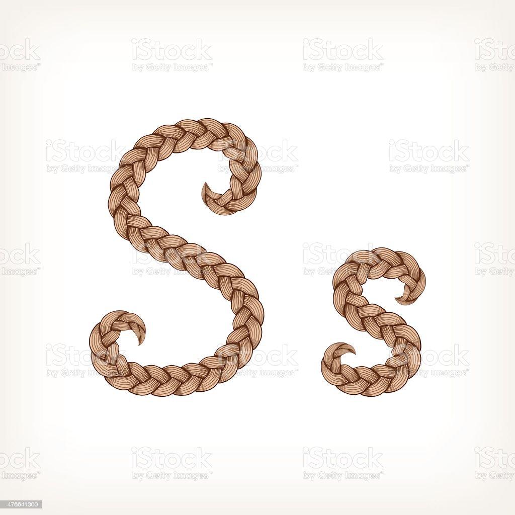 Braids hair font vector art illustration