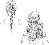 Braids. Hairstyle. Vector drawing