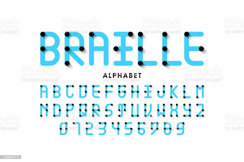 Braille alphabet vector art illustration