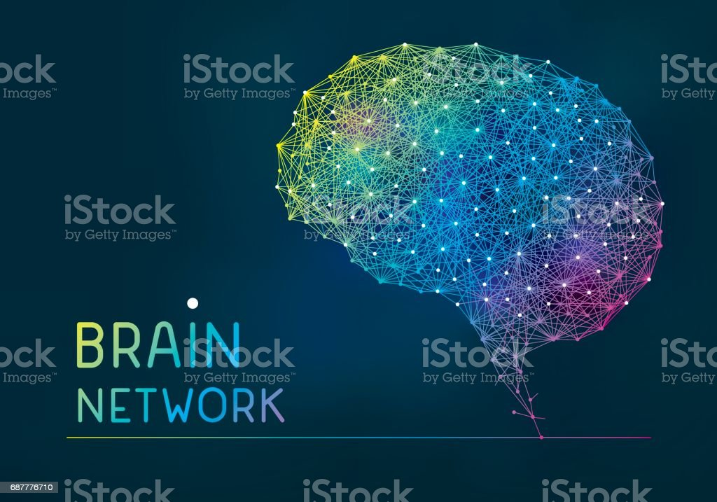 Brain abstract network banner vector art illustration