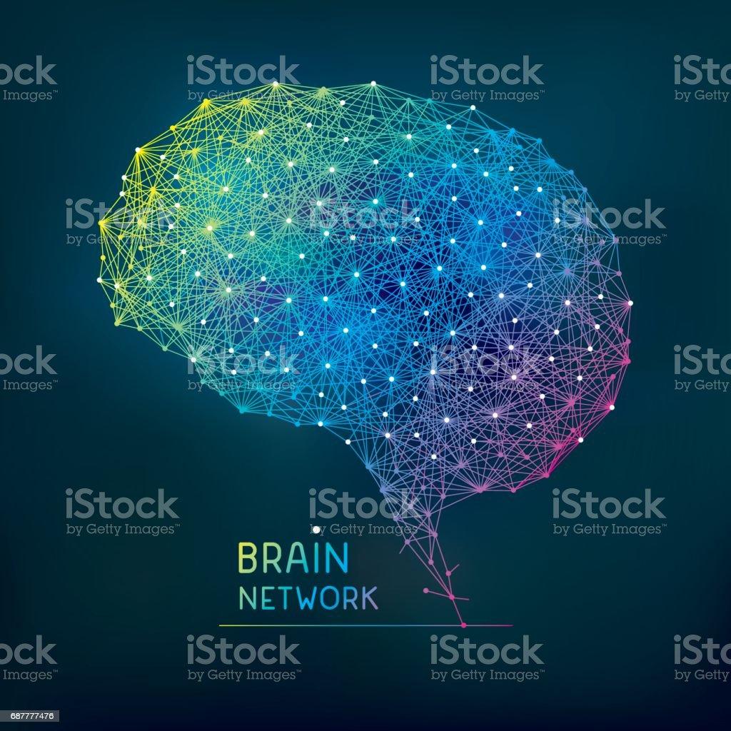 Brain abstract network vector art illustration