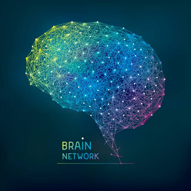 Brain abstract network vector art illustration