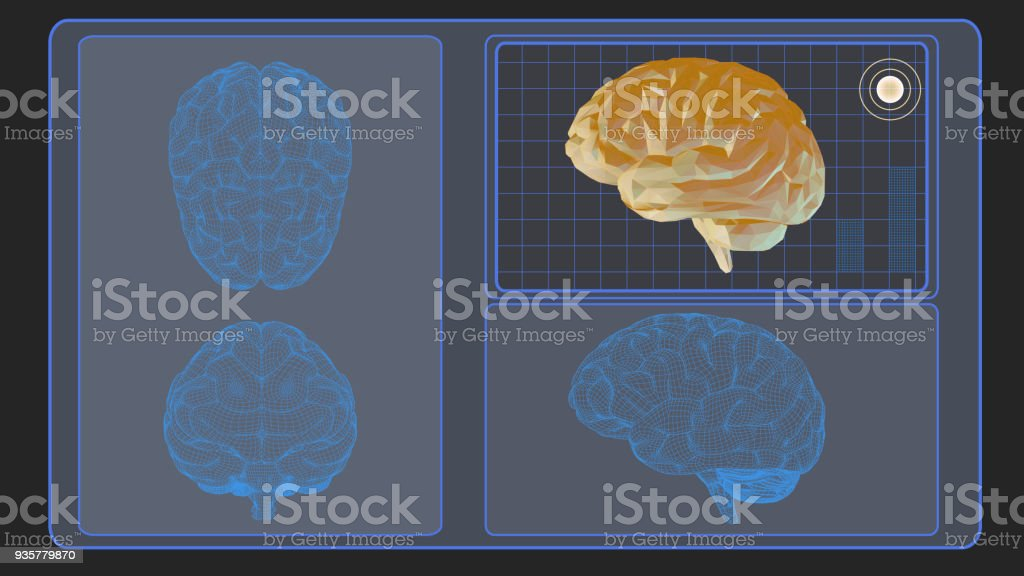 3D brain analysis interface screen on gray BG vector art illustration