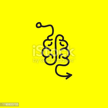 Brain and arrow, line hand drawn icon, thinking process symbol, vector illustration
