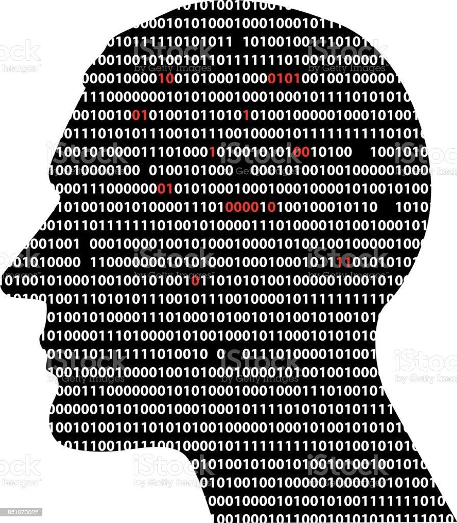 Brain and data processing vector art illustration