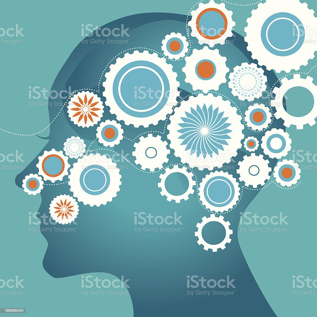 Brain and gears vector art illustration