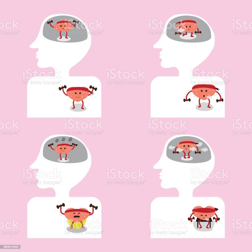 Brain And Heart Cartoon Exercise Together Inside Body Stock Vector