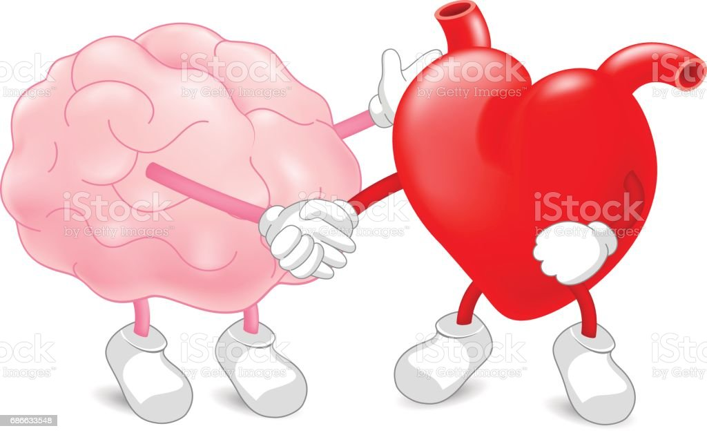 Brain And Heart Harmony Partners Shaking Hands As A Symbol Of Unity