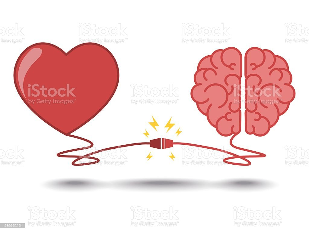 brain and heart interactions concept best teamwork vector art illustration