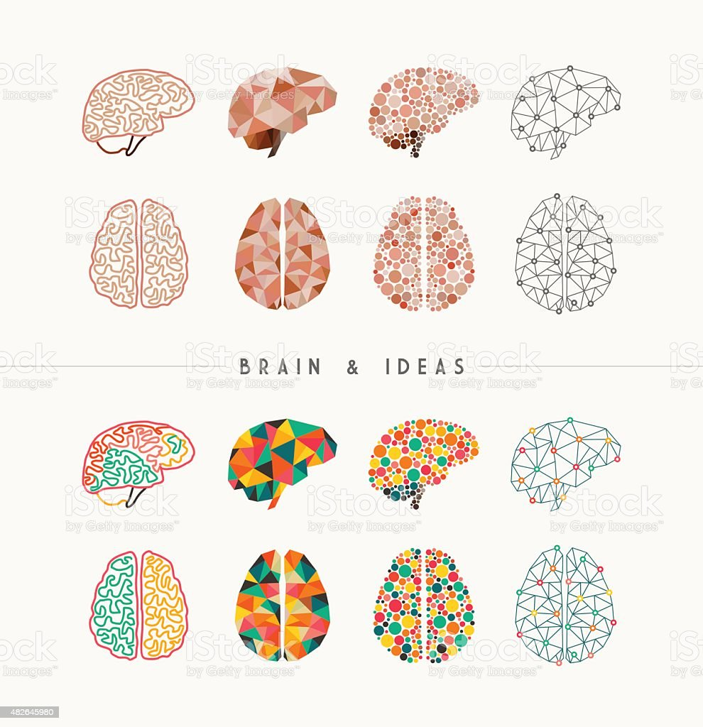 Brain and ideas icon set illustration vector art illustration