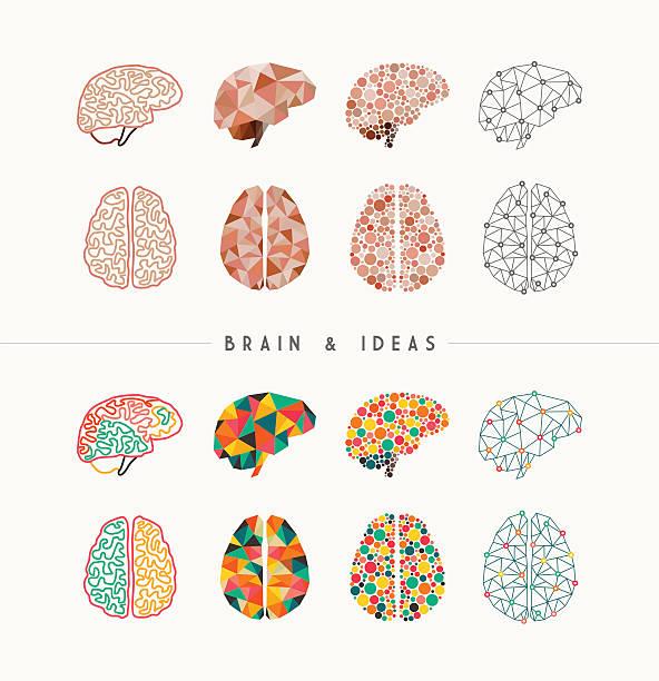 Brain and ideas icon set illustration vector art illustration