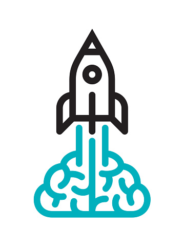 Brain and rocket icon