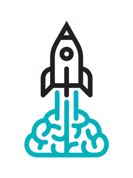 Brain and rocket icon Startup icon. Files included: Vector EPS 10, HD JPEG 3000 x 4000 px publicity event stock illustrations